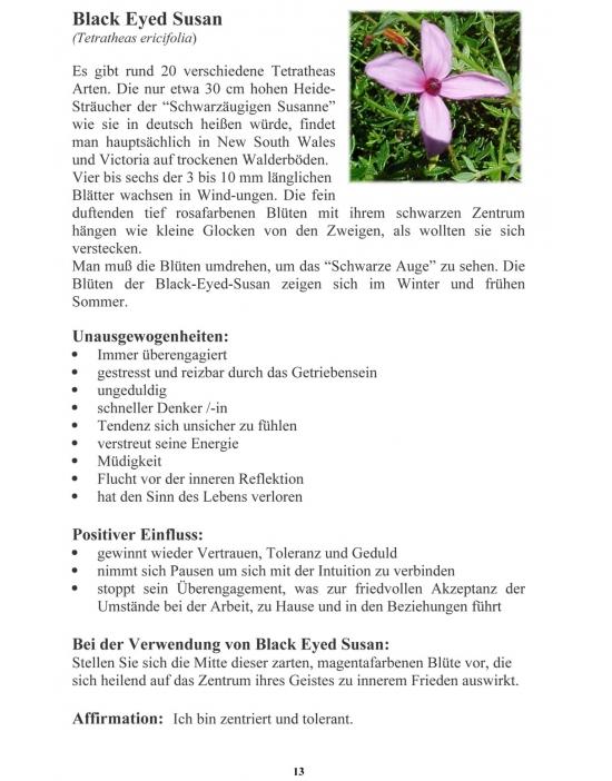 Auszug aus dem Taschenbuch Australische Buschblüten der Australian Flower Essences.