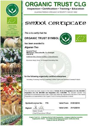 Irische Bio Naturkosmetik Zetifikat von Algaran
