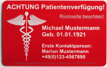 Die neue Patientenverfügungskarte